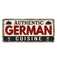 authentic german cuisine vintage rusty metal sign vector image