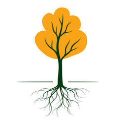 Autumn tree with roots outline vector