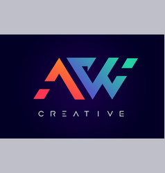 Aw logo letter design with modern creative vector