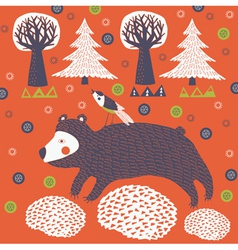 Bear in the forest vector