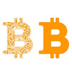 bitcoin mosaic of service tools vector image