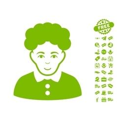 Brunette Woman Icon With Free Bonus vector