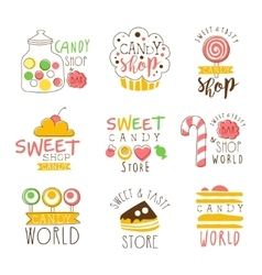 Candy Shop Promo Signs Series Of Colorful vector image
