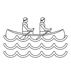 Canoe kayak with two persons icon simple style vector image