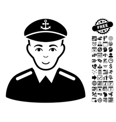 Captain Flat Icon With Bonus vector image