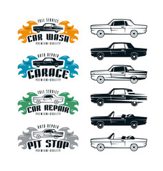 car service emblems and design elements vector image