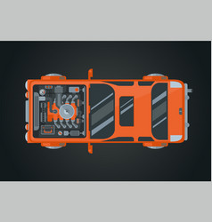 Car top view auto vehicle vector