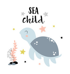 Card with cute turtle isolated on white sea child vector