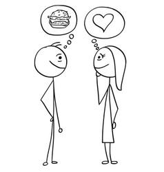 cartoon of man and woman talking about hamburger vector image