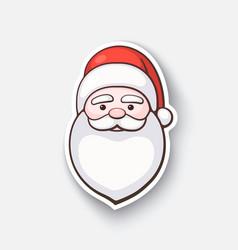 Cartoon sticker with face santa claus vector