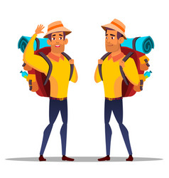 Character man hiker with large backpack vector