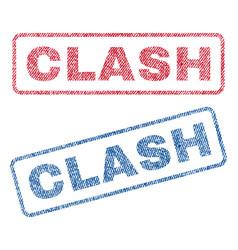 Clash textile stamps vector