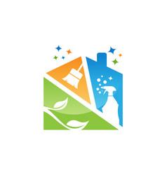 cleaning service logo emblem vector image