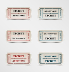Collection vintage ticket vector image