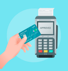 Contactless payment concept credit card in hand vector
