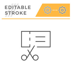 coupon editable stroke line icon vector image