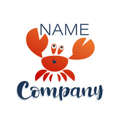 Crab logo company name lettering vector