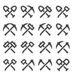 Crossed tools icons set minimalistic images a vector