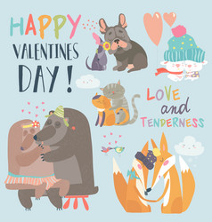 Cute animals couples in love collection vector