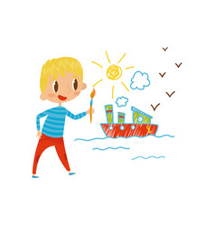 cute little boy painting ship with color paints vector image