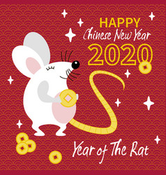 cute whait rat with gold coin vector image