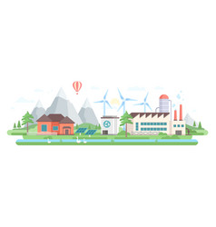 eco-friendly factory - modern flat design style vector image