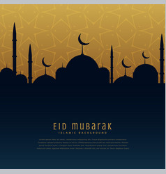 Eid mubarak festival greeting with mosque vector
