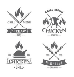 emblems set chicken grill vector image