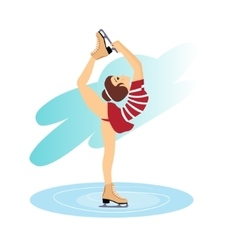 figure skating cute girl training on ice vector image