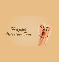 Finger couple in love with painted smiley and vector