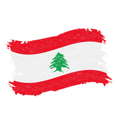 Flag of lebanon grunge abstract brush stroke vector