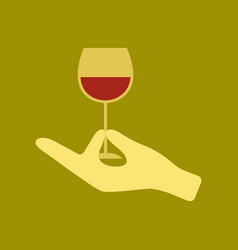 flat icon on stylish background glass of wine vector image
