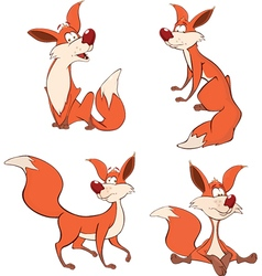 foxes set cartoon vector image