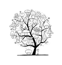 funny mushrooms tree sketch for your design vector image