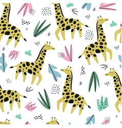 giraffe flat hand drawn color seamless pattern vector image
