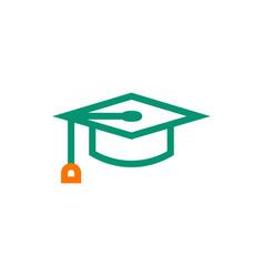 graduation cap symbol icon on white background vector image