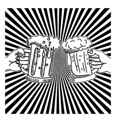 hand drawn doodles two hands toasting glasses vector image