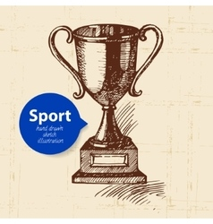 Hand drawn sport object Sketch trophy vector image
