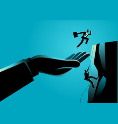 hand helping a businessman to reach higher vector image