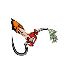 Hand Holding Gas Fuel Pump Nozzle vector