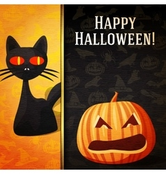 Happy halloween banner - Curious black cat and vector