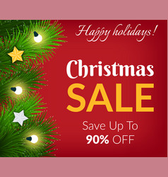 happy holidays christmas sale promotional poster vector image