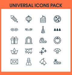 happy icons set with crown festive mask close vector image