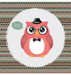 Hipster owl in textured frame design vector