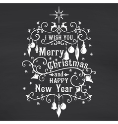 I wish you a Merry Christmas lettering on vector image
