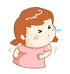 Ill girl sneezing cartoon vector