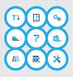 industry icons colored set with stepladder vector image