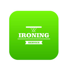 Ironing service icon green vector