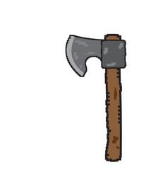 isolated pixelated axe icon vector image