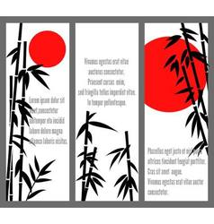 Japanese bamboo tree cards design or chinese bambu vector